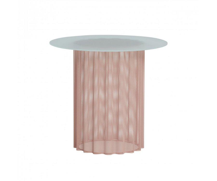 Table d'appoint ronde métal et verre ZENTO