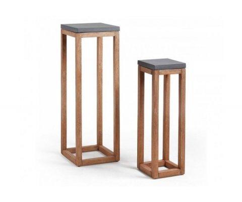 Set de 2 petites tables d'appoint intérieur extérieur HOPAL