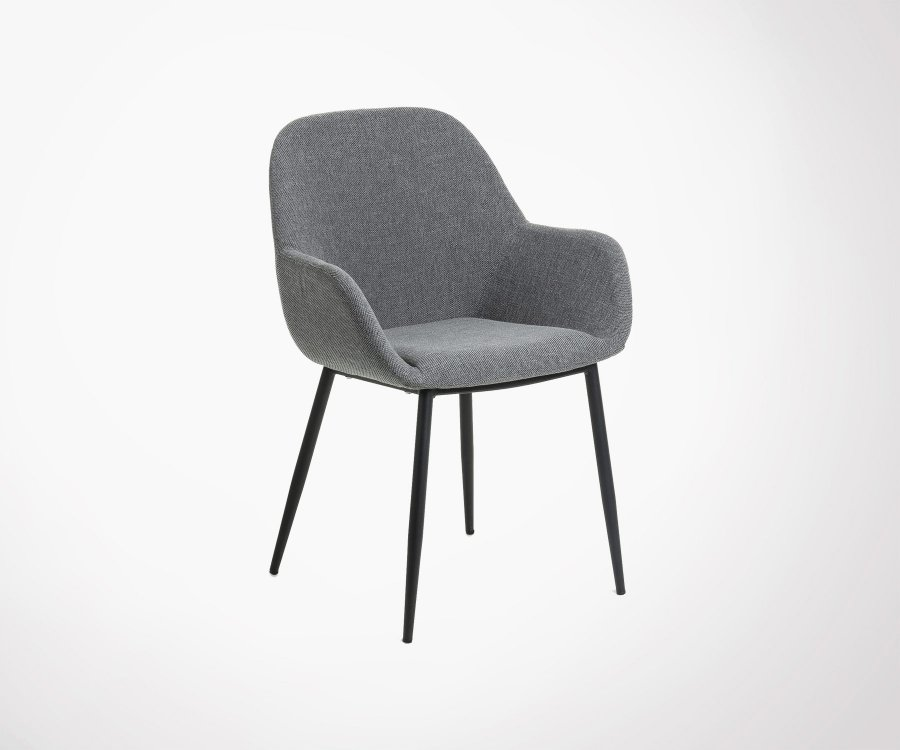 Chaise salle à manger tissu avec accoudoirs NAKO