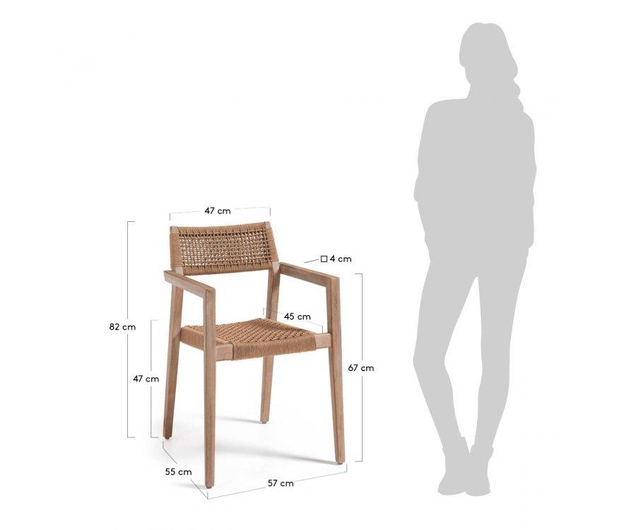 Chaise de jardin en bois et corde VETU
