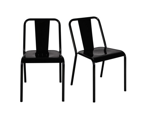 Lot de 2 chaises de café empilables PAULIN