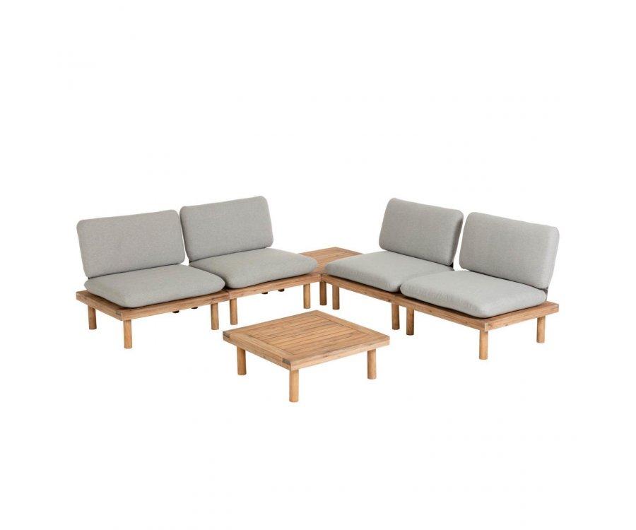 Salon de jardin complet 4 fauteuils 2 tables GETA