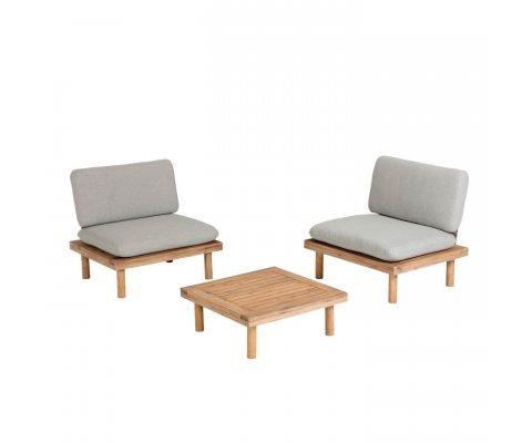 Salon de jardin 2 fauteuils + table TEMI
