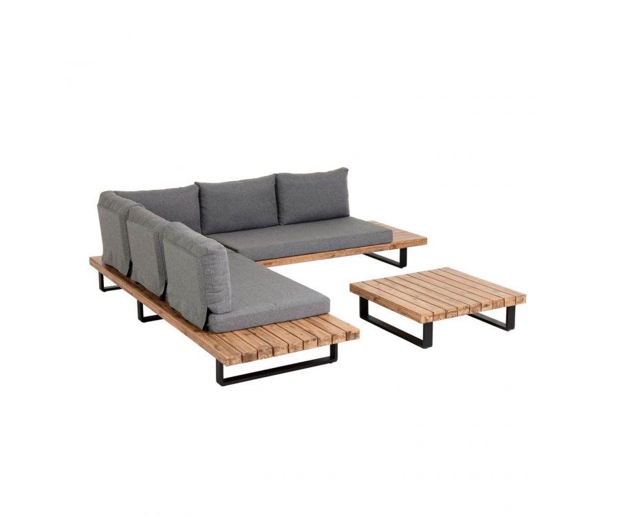 Grand salon de jardin canapé d'angle + table TEMI