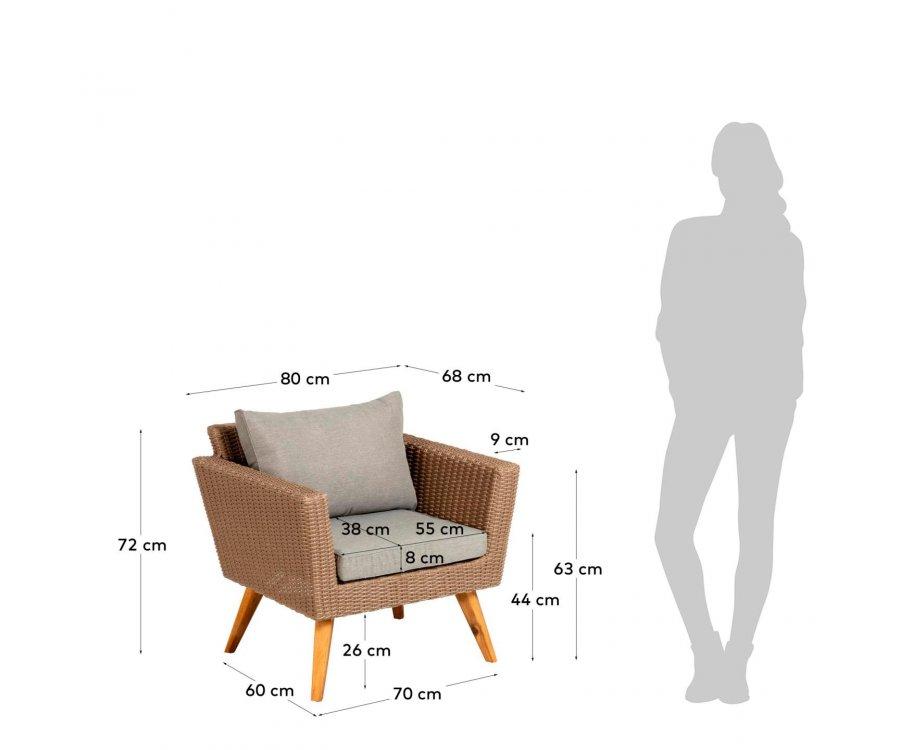 Ensemble salon de jardin 2 fauteuils + 1 canapé DOMA