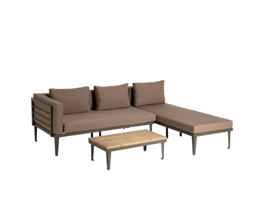 Salon de jardin canapé d'angle + table basse TOLO