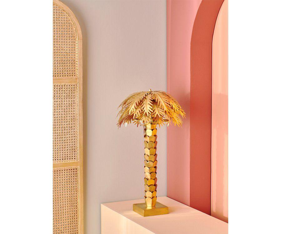 Lampe de table palmier à poser GOLDIE - finition dorée