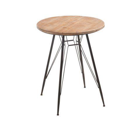 Table métal bistro 65cm plateau bois naturel JAY