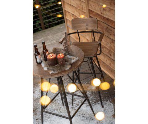 Table haute bistro 65cm plateau bois naturel JAY