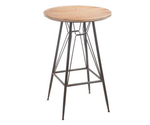 Table haute bistrot plateau rond 65cm bois naturel JAY