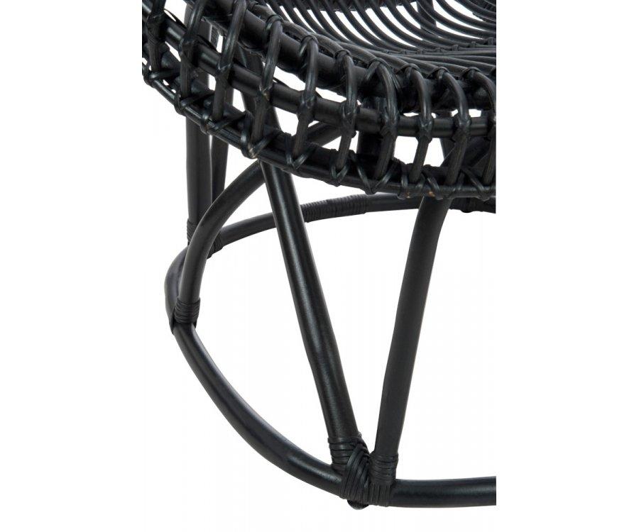 Chaise lounge rotin noir avec coussin ZOEY