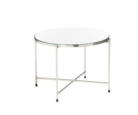 Table basse art déco métal argenté plateau miroir DELOE