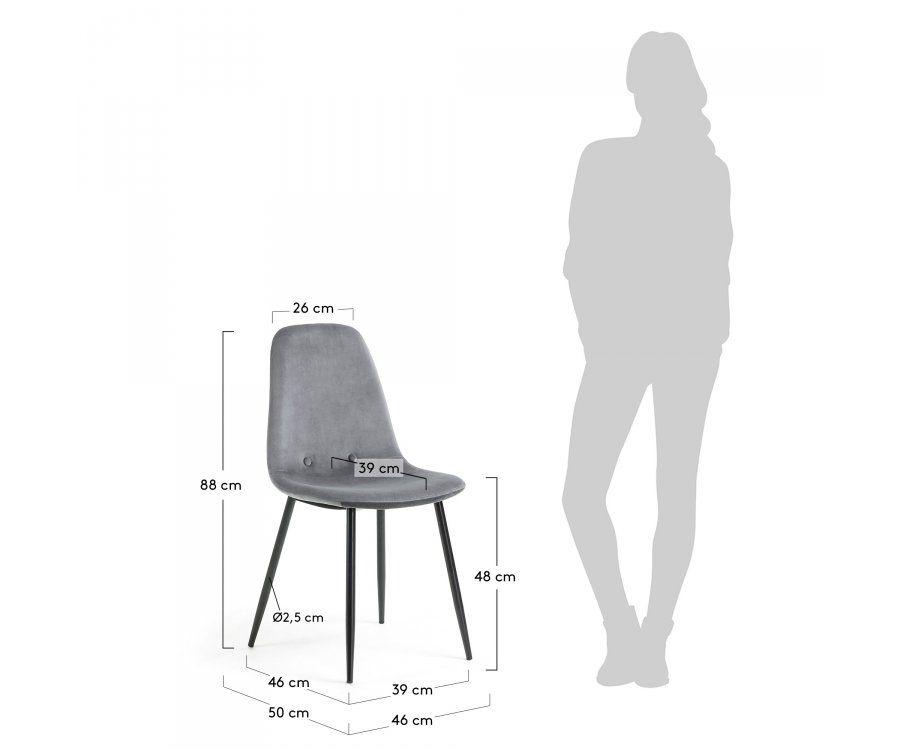 Chaise de salle à manger velours pieds bois noir NONOLA