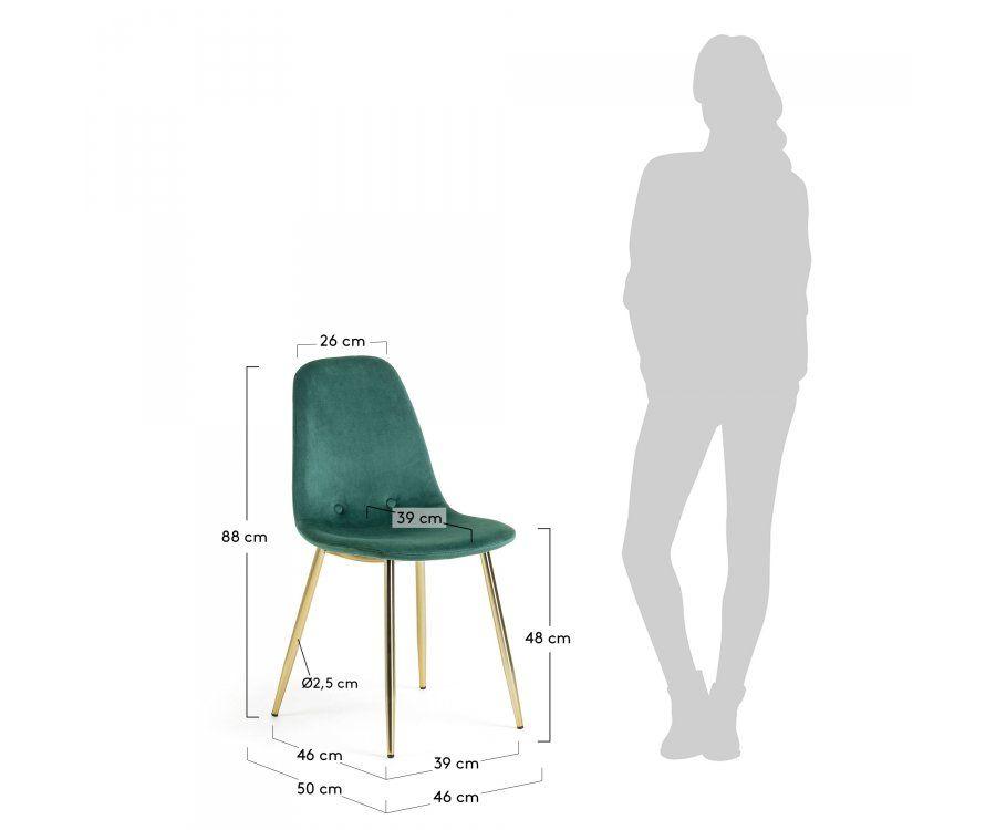 Chaise velours pieds métal doré NONOLA