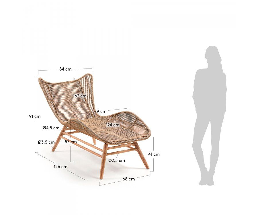 Chaise longue extérieur bois massif et corde KENYA