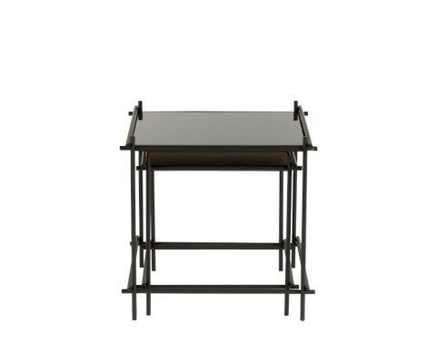 Tables gigognes métal et verre noir GELZ - J-line