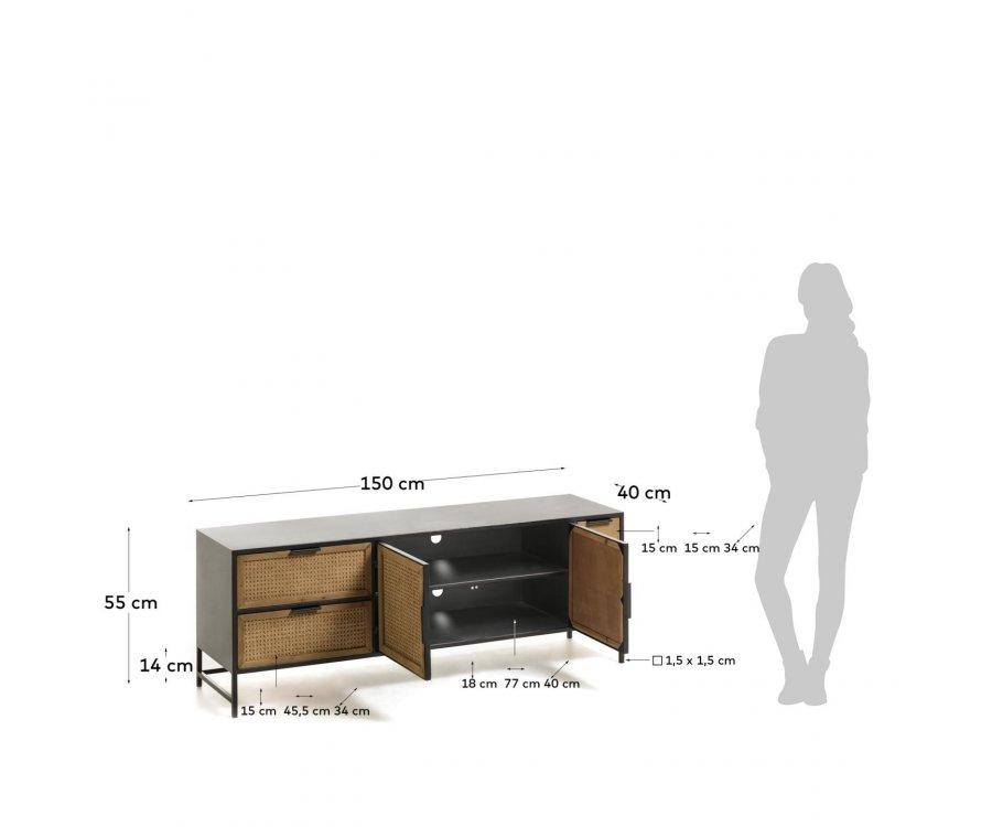 Meuble TV métal et cannage 150cm YONOKA