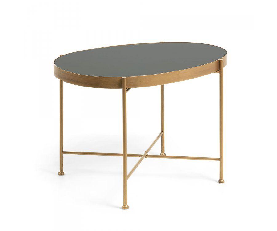 Table basse ovale métal doré style art déco TELMAN