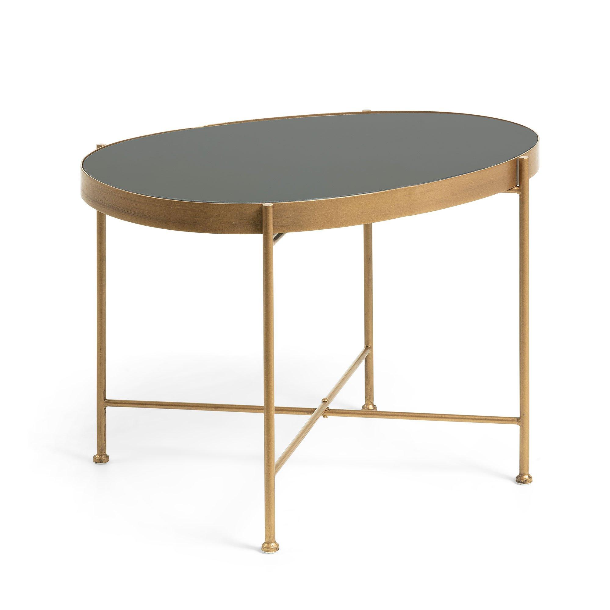 Table Basse Ovale Metal Dore Plateau Verre Noir Style Art Deco
