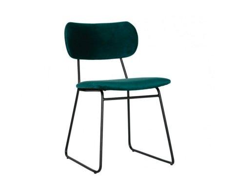 Chaise moderne en velours vert OMAR