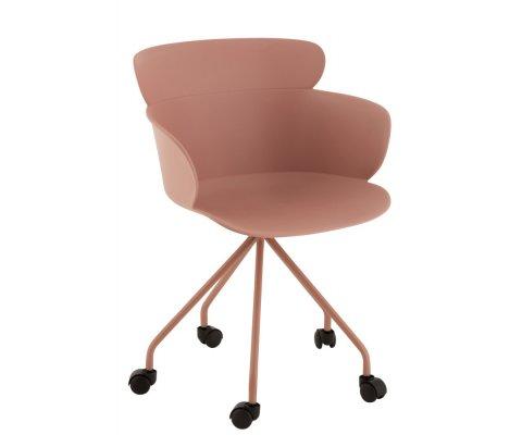 Chaise de bureau à roulettes scandinave rose HIZI