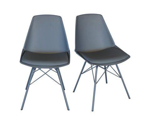 2 chaises design ANJI pieds métal