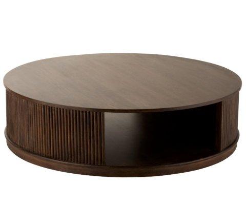 Table basse ronde bois de manguier foncé JUMA
