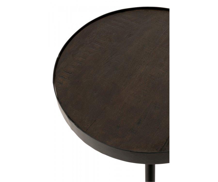 Table d'appoint en bois et métal noir CHARLY