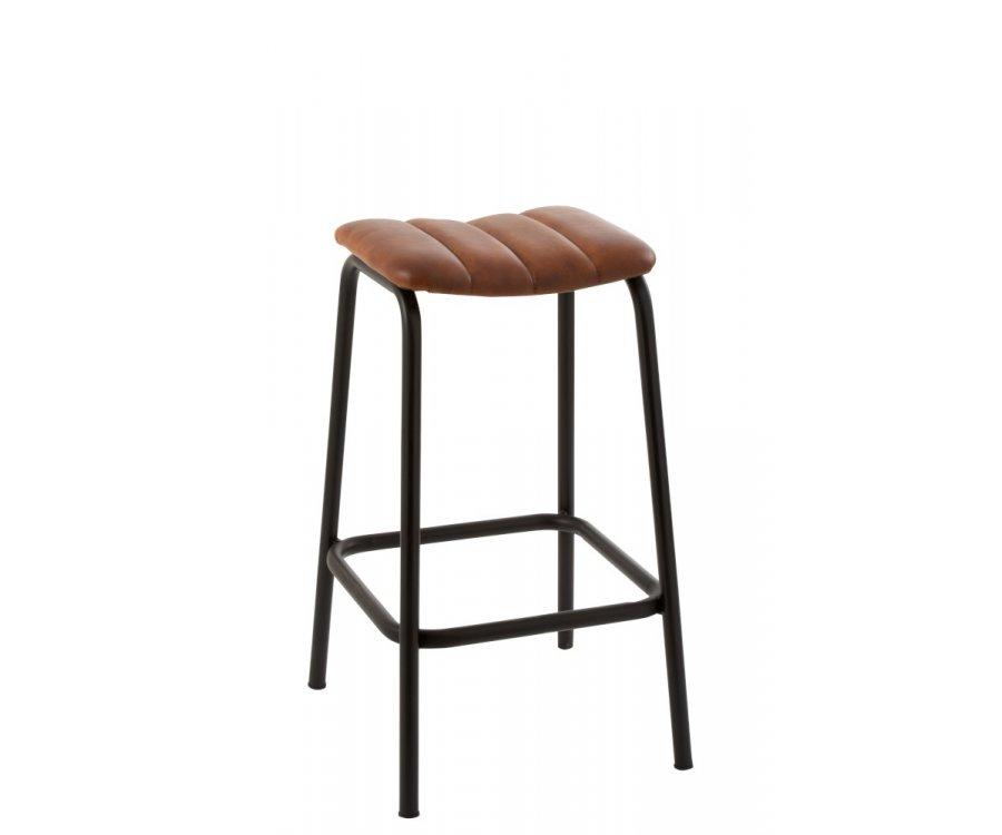 Chaise de bar fer et cuir insdutrielle-BROWNIE