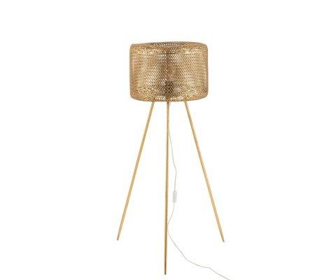 Lampadaire trépied en métal doré OLORA