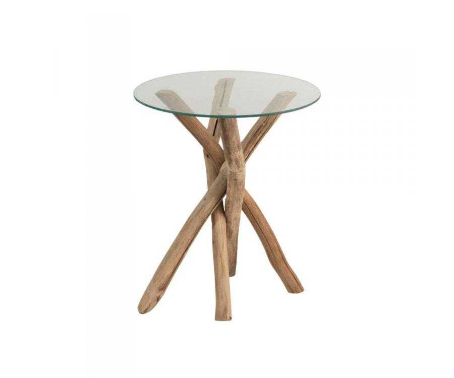 Table d'appoint ronde bois et verre-BOHEMIANE