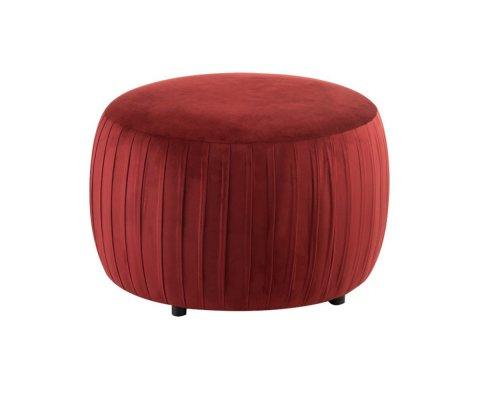 Pouf rond en velours rouge MIAMI