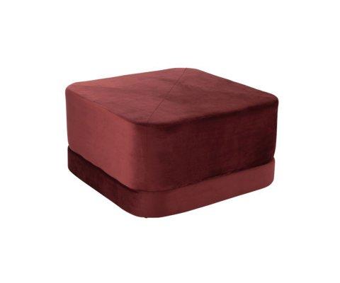 Pouf carré vintage velours rouge SIO