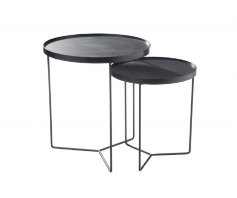 Set de 2 tables gigognes métal ronde-COFFI