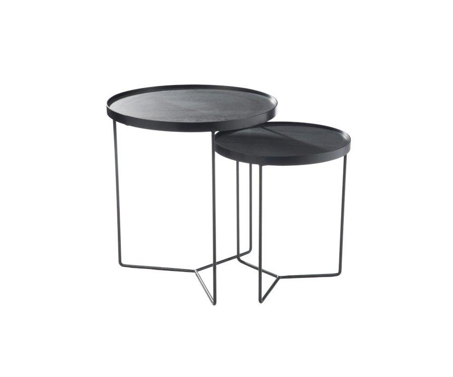 Set de 2 tables gigognes métal ronde-COFFI