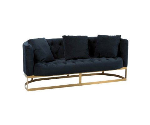 Canapé 2 places velours noir style art déco AZILA