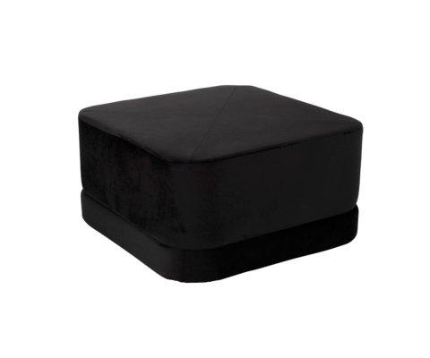 Pouf tendance en velours noir REZA
