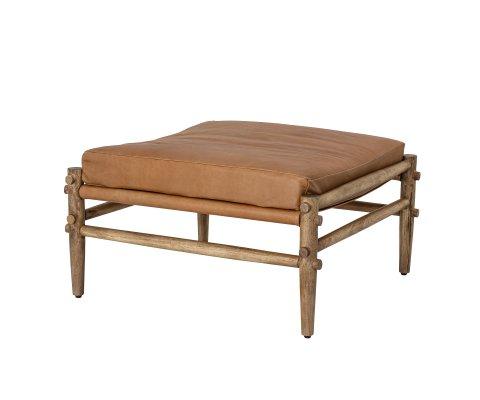 Petit banc carré style vintage en cuir TIAMA