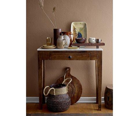 Table d'appoint bois et marbre bohème chic-PROVENCE