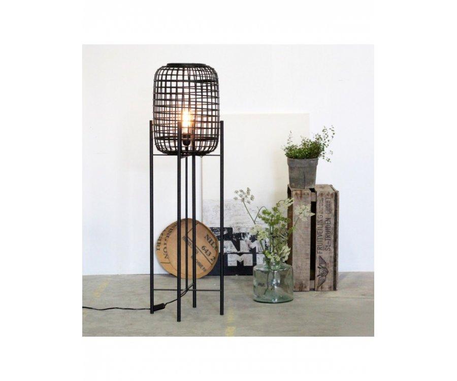 Lampadaire design en rotin naturel noir LOUIS