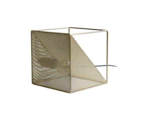 Lampe à poser cube en métal doré ANNE