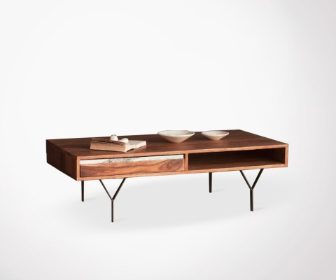 MANAL large coffee table wood and marble finish - 115cm