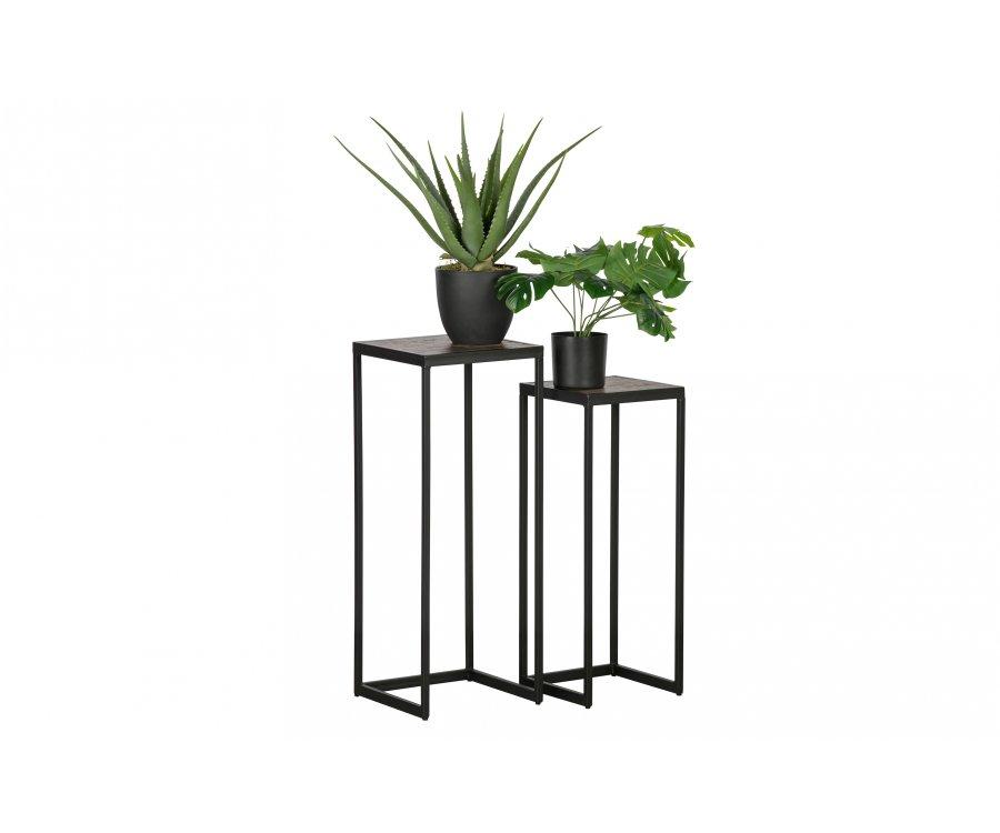 Lot de 2 petites table gigognes en bois et métal PAULA