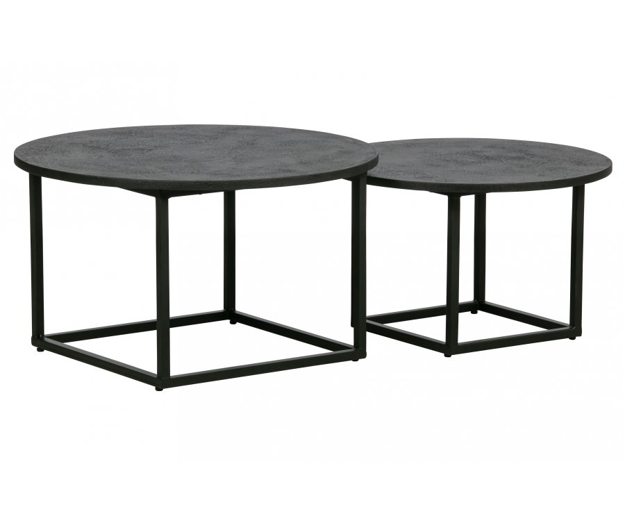 Set de 2 tables basse rondes en bois et métal HARVEY