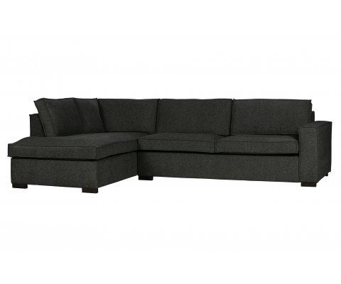 Canapé d'angle gauche en tissu gris GUZMAN