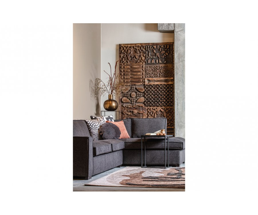 Canapé d'angle droit moderne en tissu GUZMAN