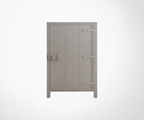 Armoire de rangement style industriel LOCKY - Taupe