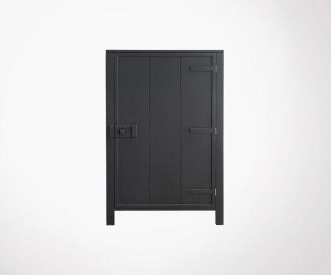 Armoire de rangement style industriel LOCKY - Gris Anthracite