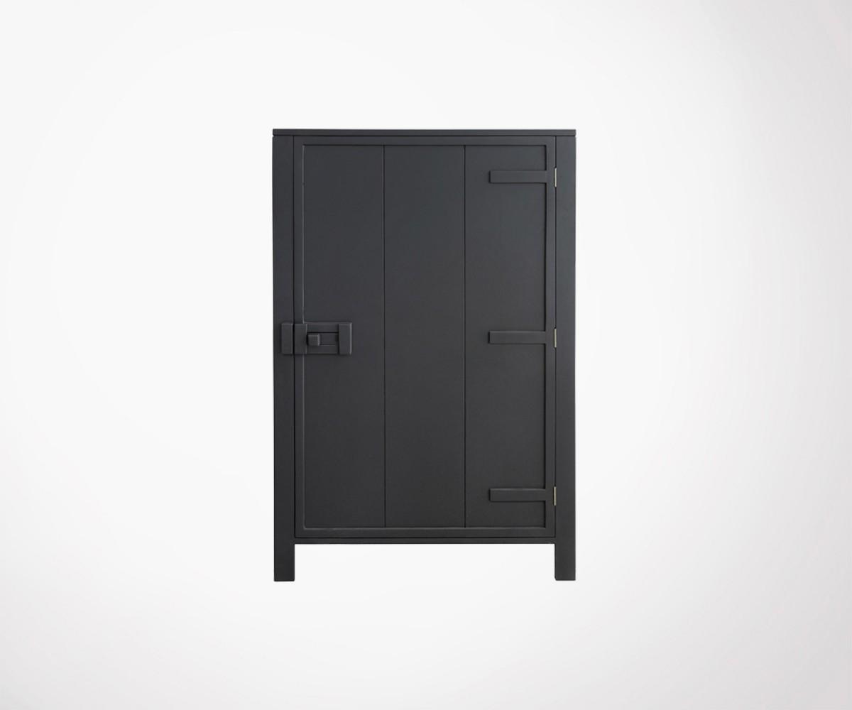 armoire bois gris charcoal design industriel ou ethnique. Black Bedroom Furniture Sets. Home Design Ideas