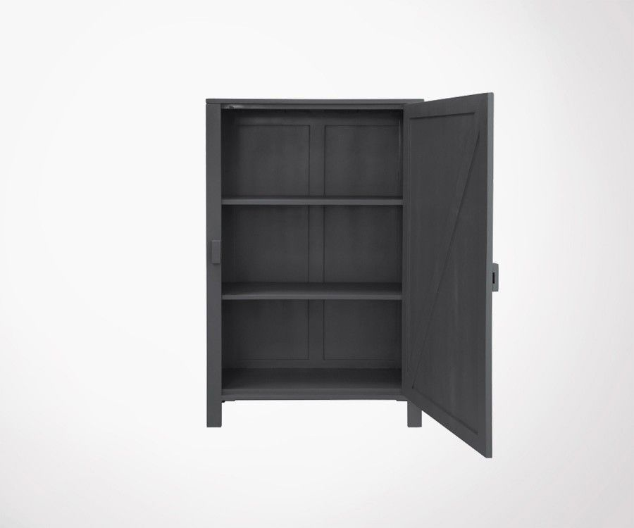 armoire bois gris charcoal design industriel ou ethnique. Black Bedroom Furniture Sets. Home Design Ideas